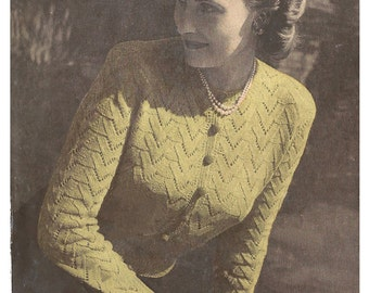 1940s Knitting Pattern for Ladies Jumper Cardigan in Lace Chevron Stitch - 38 in bust - Digital PDF