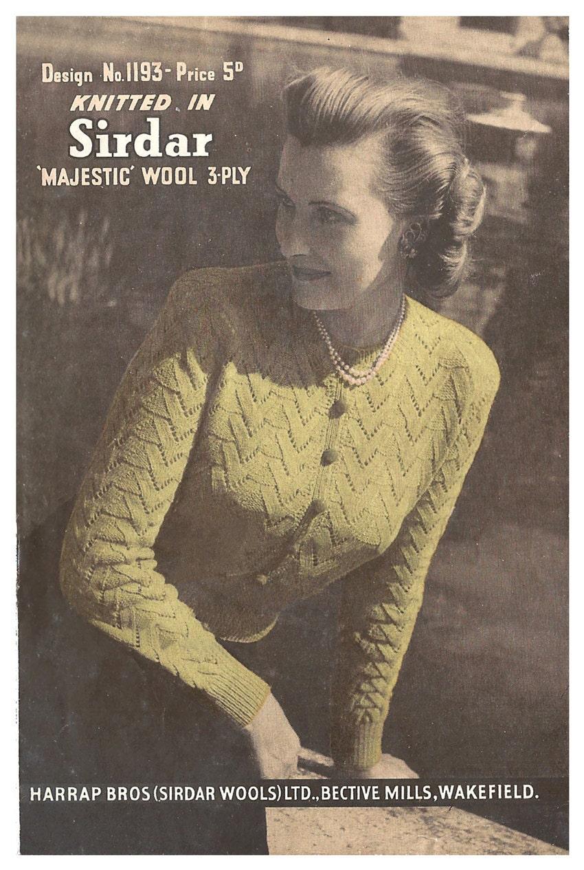 Sirdar 1193 1940s lace cardigan