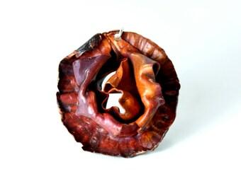 Rose Pendant, Fold Formed Copper Flower Pendant, Sterling Silver, Copper Necklace, Copper Pendant, Silver Jewelry, Silver Pendant, Rose