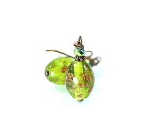 Lampwork Earrings, Green Lampwork Earrings, Green Glass Earrings, Green Crystal Earrings, Green Drop Earrings, Green Lampwork Beads,