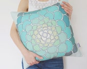 SALE! Ombre Mint Floral Pillow Cover in Green, Teal, Blue / Mint Decorative Pillow / Mint Pillow / Ombre Pillow Cover / Succulent Pillow