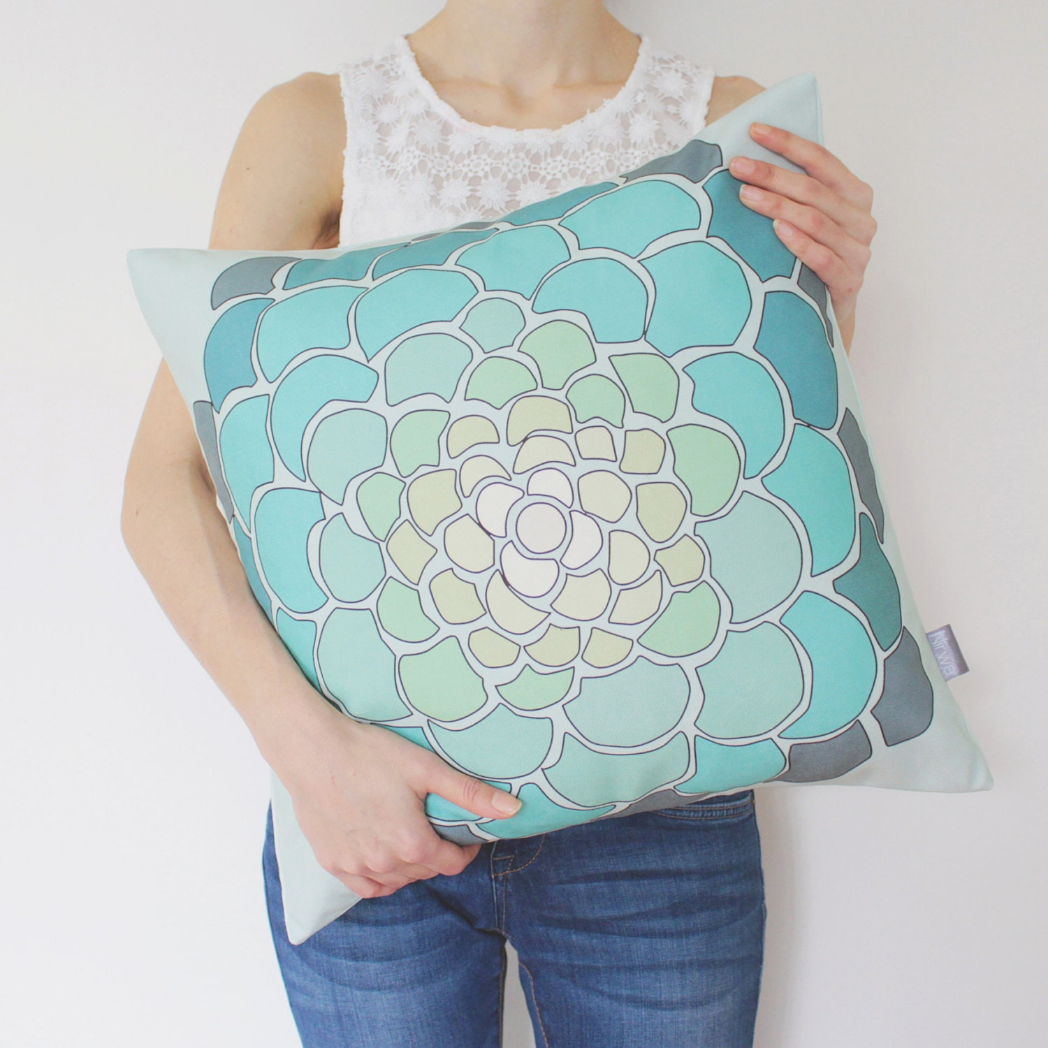 SALE Ombre Mint Floral Pillow Cover In Green Teal Blue