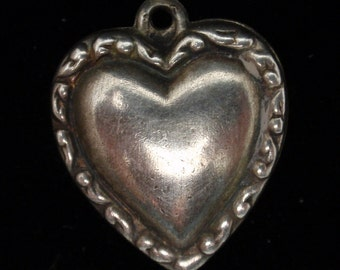 Puffy Heart Charm Vintage Sterling Silver Beaded Edge on Both Sides