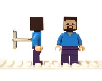 Steve cufflinks. Character from the Minecraft game. Cufflinks made with LEGO(R) bricks. Cuff links Wedding gift