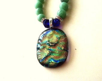 Dichroic Necklace, Dichroic Pendant & Green and Blue Glass Bead Necklace