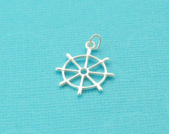 sterling silver ship's wheel charm  - boat's wheel pendant - silver boat or ship wheel nautical jewelry supplies