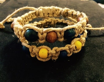 Macrame Thick Hemp Bracelet made with Wooden Beads