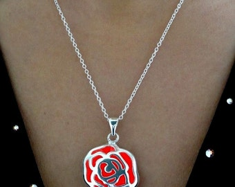 Red Rose Glow Necklace - Glow in the Dark Necklace - Glow in the Dark Jewelry - Glowing Rose Necklace - Silver Rose Pendant - Gifts for Her