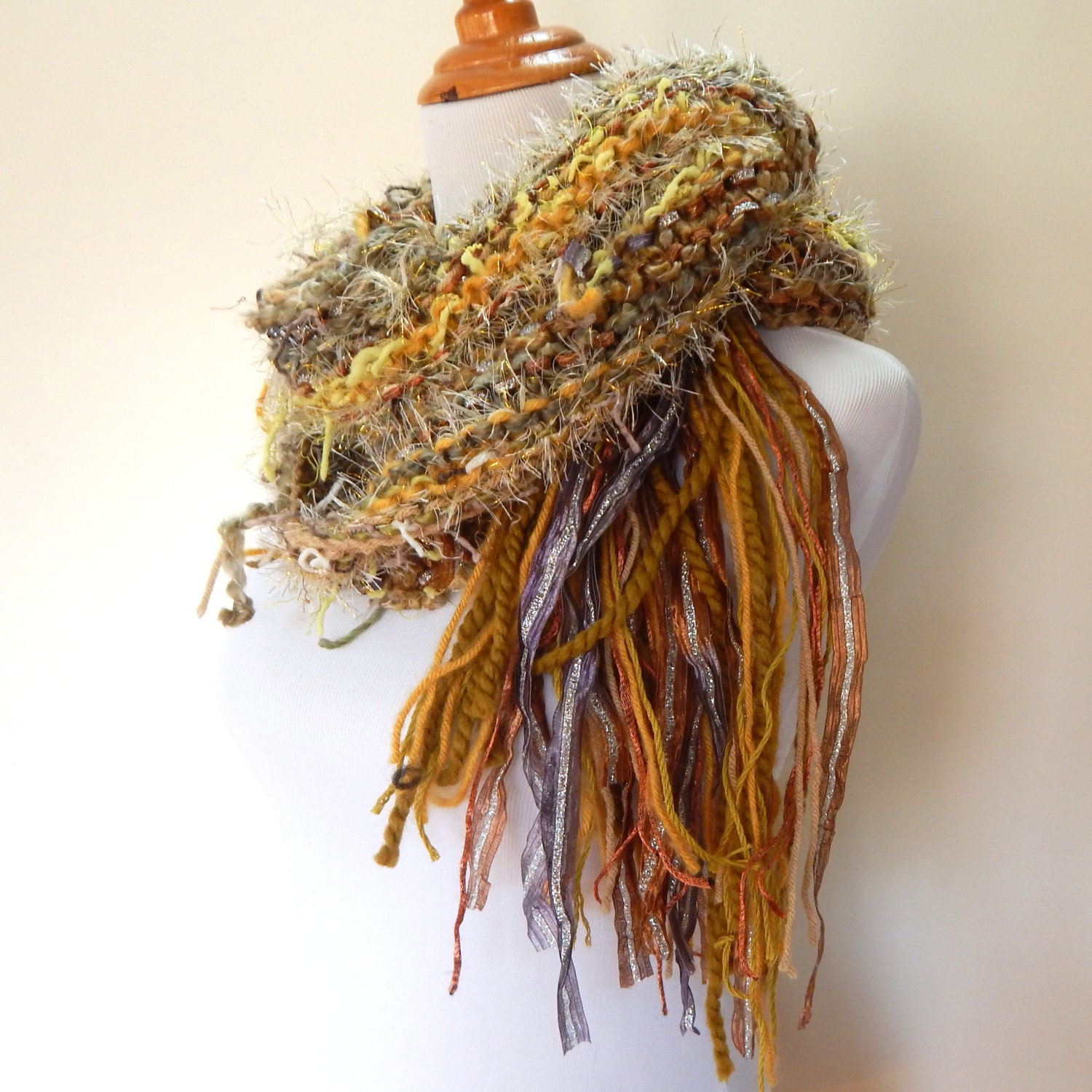 Knitting Pattern Scarf With Fringe : Knit Scarf Hand Knit Scarf Fringe Scarf Green with by Fanchi