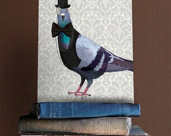 Pigeon in Waistcoat & Top Hat, Bird Print Animal Painting Wall Decor Wall hanging Wall Art Bird in Hat with Monocle, Bird picture