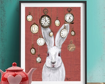 Rabbit Time - Art Print White Rabbit Alice in Wonderland Print Illustration Rabbit Print rabbit picture rabbit art, wall decor hanging