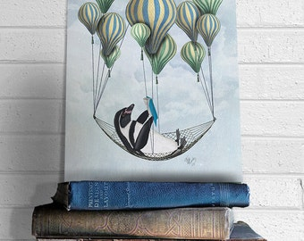 Modern Nursery Art for Kids Room Décor - Penguin in Hammock - Cute animal art for kids rooms boys nursery art girls nursery art playroom art
