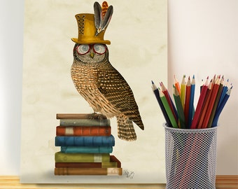 Owl Art - Owl on Books  - Owl Nursery Art for Kids Room Décor woodland animal nursery Owl Nursery décor childrens wall art Owl top hat