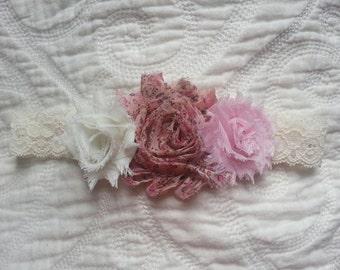 Shabby Chic Headband.  Ivory, Country Rose, Light Pink Shabby Rose Headband. Infant headband.