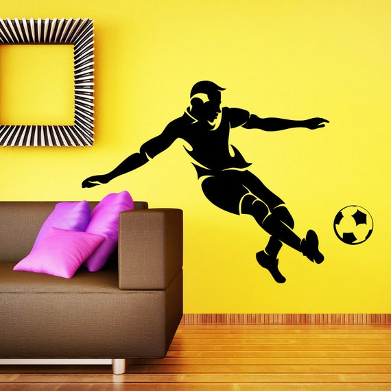 wall decal soccer player vinyl sticker decals sport football player