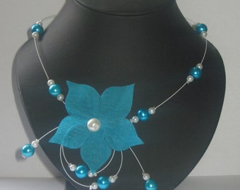 Cable necklace turquoise silk pongee
