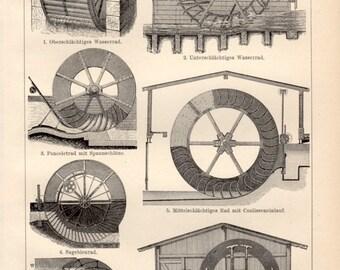 1898 Water Wheel Antique Print, Vintage Lithograph, Wasserräd, Mühlrad, Watermill, Old Mill, Hydropower, Water turbines, Watermills
