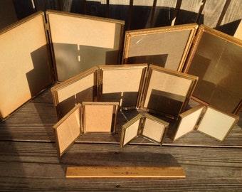 Set of Nine (9) Bi-fold Frames Gold Metal Frames with Glass Vintage Display 13 Pictures!