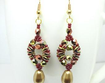 Super duo autumn earrings, swarovski pearl drop, gold and mulberry, superduo earrings, fall earrings ER005