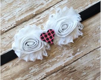 SALE White Hot Pink & Black Shabby Chic Flower Headband, Baby Headband, Toddler Headband, Girls Headband, Adult Headband, Baby Girl Hair Bow