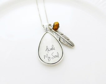 Awake My Soul Handcrafted Teardrop Pendant Necklace With Feather and Bead Charm