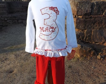 Red and White Birthday shirt and triple ruffle leggings.  Toddler and girl sizes