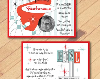Retro Bowling Birthday Party Invitation - Printable