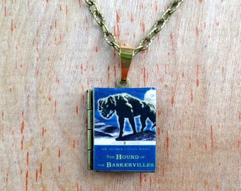 Sherlock Holmes - The Hound of the Baskervilles - Sir Arthur Conan Doyle - Literary Locket - Book Cover Locket Necklace