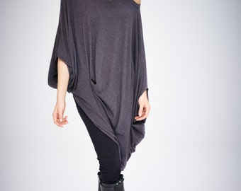 Twisted Brown-Grey Top/ Oversized Asymmetrical Top/ Loose Grey Top/ Casual Cotton Blouse by AryaSense/ TEDJ14BG