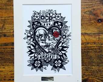 instant download digtal file Til Death Tattoo style Papercut template for personal use only