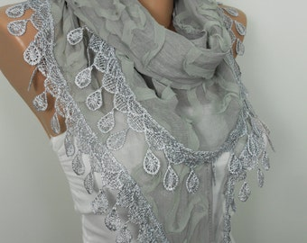 Gray Scarf Shawl Lace Scarf Gray Wedding Scarf Women Holiday Fashion Accessories Christmas Valentines Day Mothers Day Gift Ideas For Her
