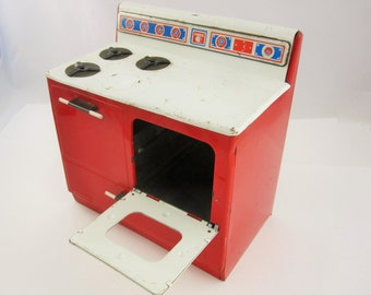 A Vintage 'Gabriel' Brand Raggedy Ann Tin Litho Toy Stove in Red and White From the 1940s -1950s - Made in the USA