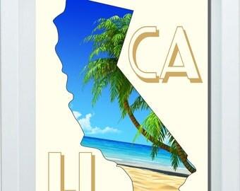 California Art, California State Art, California State Print, Choose Your State, Cali Wall Art, Honeymoon Gift, Living Room Wall Art