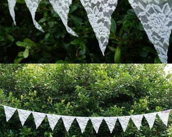 3.2m Lace Bunting Pennant 12 Flags Banner Vintage Wedding Hanging Decoration FREE SHIPPING Australia Wide