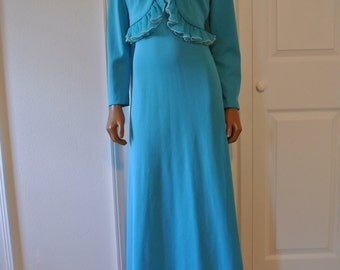 1960s Old Hollywood Maxi Gown Dress Aqua Blue with Organza and Faux Pearl Trim/L