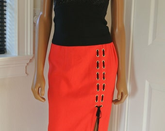 Criscione New York Cache Pencil Skirt Red Sexy lace Up Side Size S