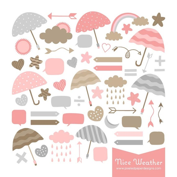 Pink & Sand Weather Digital Clipart: Clouds, Umbrella, Bubble, etc. Graphics for Photography, Scrapbook, DIY | Commercial License Available
