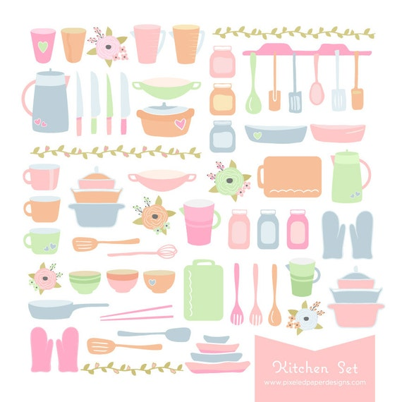 Kitchen & Cooking Clip Art Digital Graphics for Recipe Book