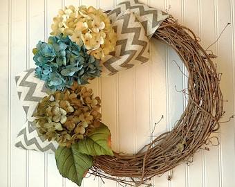 Hydrangea spring wreath, spring door wreath, spring wreath, wreath for spring. Front door wreath, spring decor