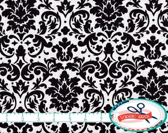 BLACK AND WHITE Damask Fabric by the Yard Fat Quarter Black & White Scroll Fabric 100% Cotton Quilting Fabric Apparel Fabric Yardage a3-26