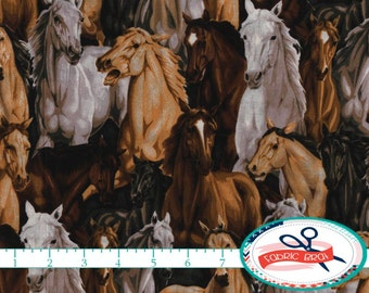 WILD HORSES Fabric by the Yard, Fat Quarter Cowboy Fabric Ranch Fabric Horse Fabric Quilting Fabric 100% Cotton Fabric Apparel Fabric t4-31