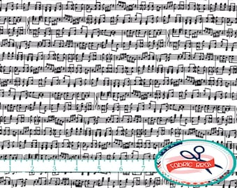 SHEET MUSIC Fabric by the Yard, Fat Quarter MUSIC Notes Fabric Black & White Fabric 100% Cotton Fabric Quilting Fabric Apparel Fabric w1-15