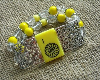 Mahjong Gift - Mahjong Jewelry - One Dot Mahjong Bracelet - Double Strand Mahjong Jewelry - Gift Idea - Sunshine Yellow Bracelet