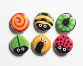 Garden bugs button badges set, pin back badges, flairs. Caterpillar, beetle, worm, bee, ladybird, snail badges.