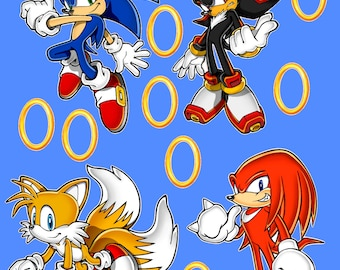 Beautiful Sonic The Hedgehog Tails Shadow And Knuckles Removable Wall Decal Stickers  Set With 8 Rings Ideas