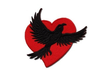 Raven Heart Embroidered Iron on Patch