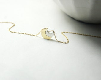 Mother Son Gift,gold moon necklace.Two Moon necklace.Moon Jewelry.Mother SON GIFT,Gold Moon jewelry.crescent moon.gift for her,gift for him.