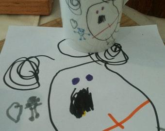 "Mug ""I MADE THIS!"" - customized porcelain mug with kid's artwork"