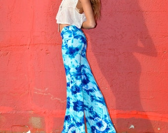 TIE DYE FLARE leg or wide leg palazzo 70's hippie boho chic yoga resort lounge beach festival dance hoop pants with fold over waistband