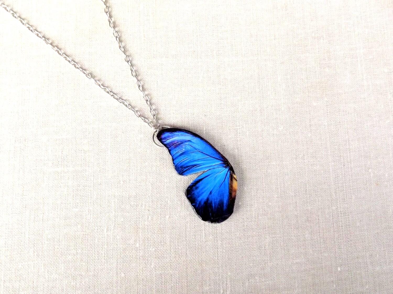Blue Butterfly Jewelry: Blue Butterfly Wing Necklace Blue Wing Necklace Butterfly